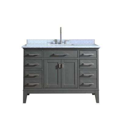Danny 48 in. Single Bath Vanity in Maple Gray with Marble Vanity Top in Carrara White with White Basin