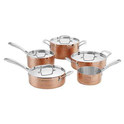 Hammered Collection 9-Piece Copper Classic Cookware Set