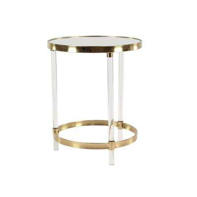 Clear Round Accent Table With Gold Frame
