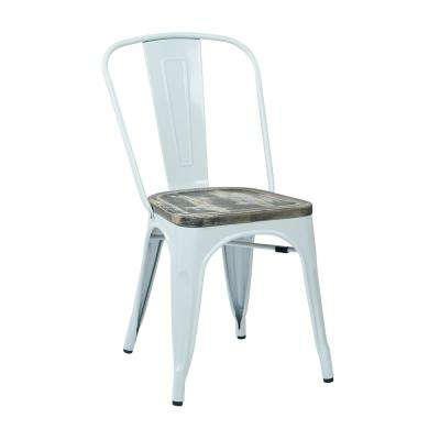 Bristow White Metal Chair with Vintage Ash Crazy Horse Wood Seat (2 Pack)