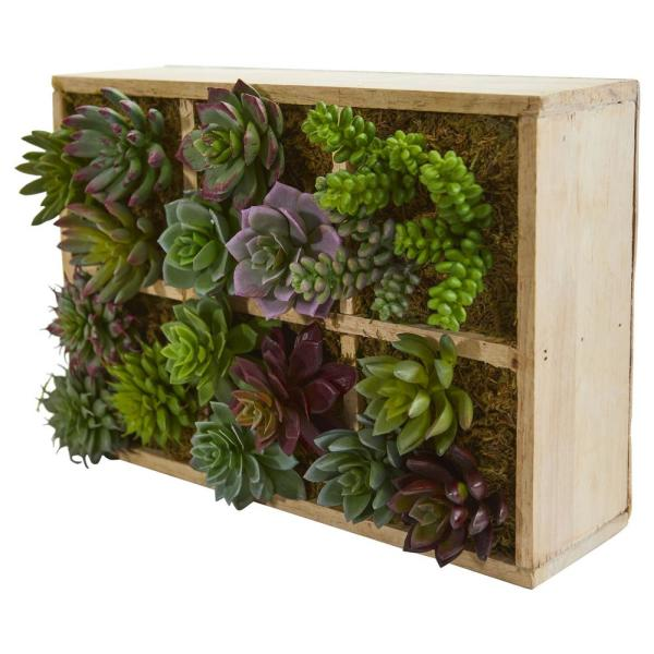 Artificial Mixed Succulent Plants in Rectangular Brown Wooden Planter Box