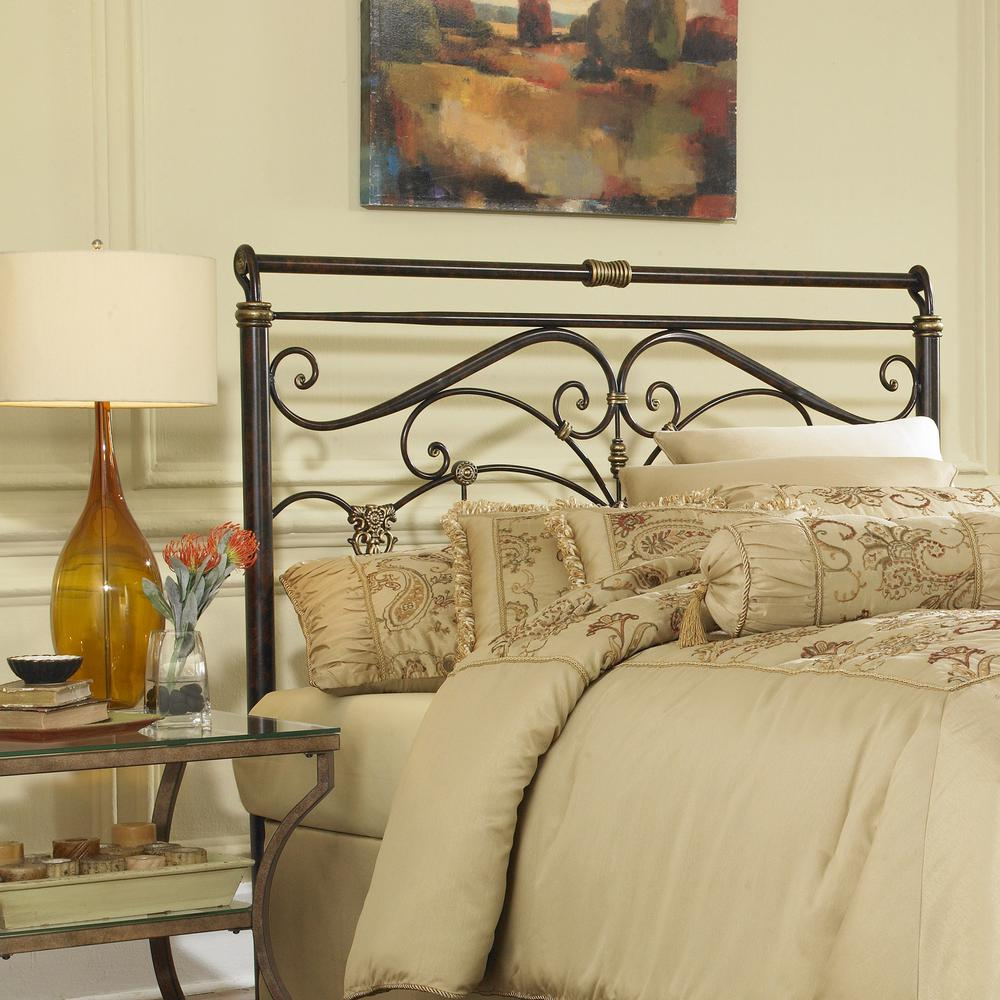 This review is fromlucinda queen size metal headboard with intricate scrollwork and sleighed top rail panel in marbled russet