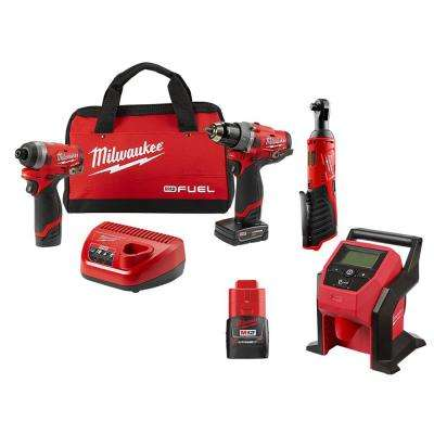 M12 FUEL 12-Volt Li-Ion Brushless Cordless Hammer Drill/Impact Driver Combo Kit with 3/8 in. Ratchet & Inflator (2-Tool)