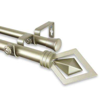 48 in. - 84 in. Telescoping 1 in. Double Curtain Rod Kit in Light Gold with Lenore Finial