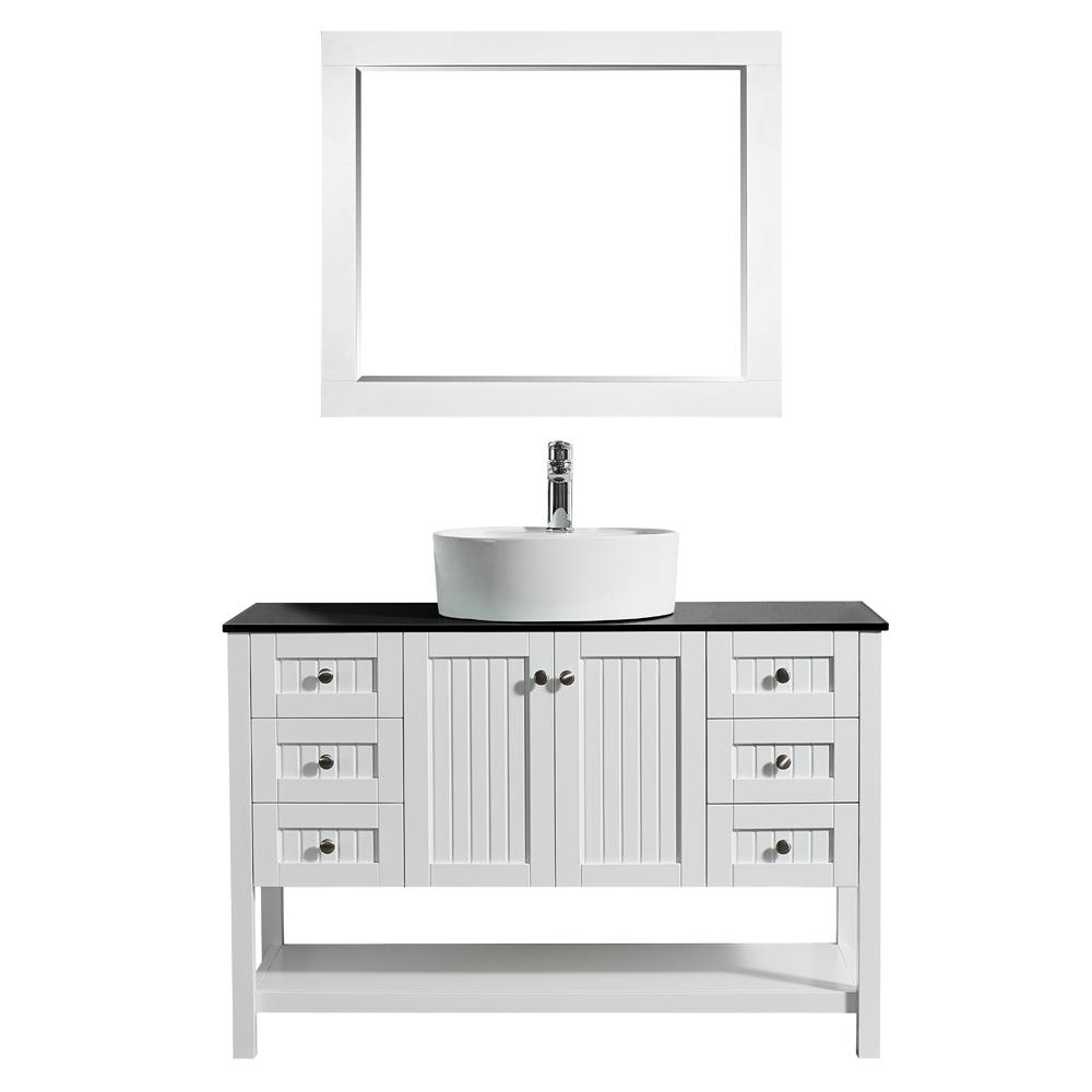 ROSWELL Modena 48 in. W x 18 in. D Vanity in White with Glass Vanity Top in Black with White Basin and Mirror