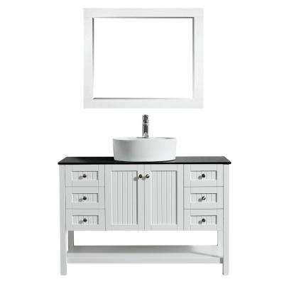 Modena 48 in. W x 18 in. D Vanity in White with Glass Vanity Top in Black with White Basin and Mirror