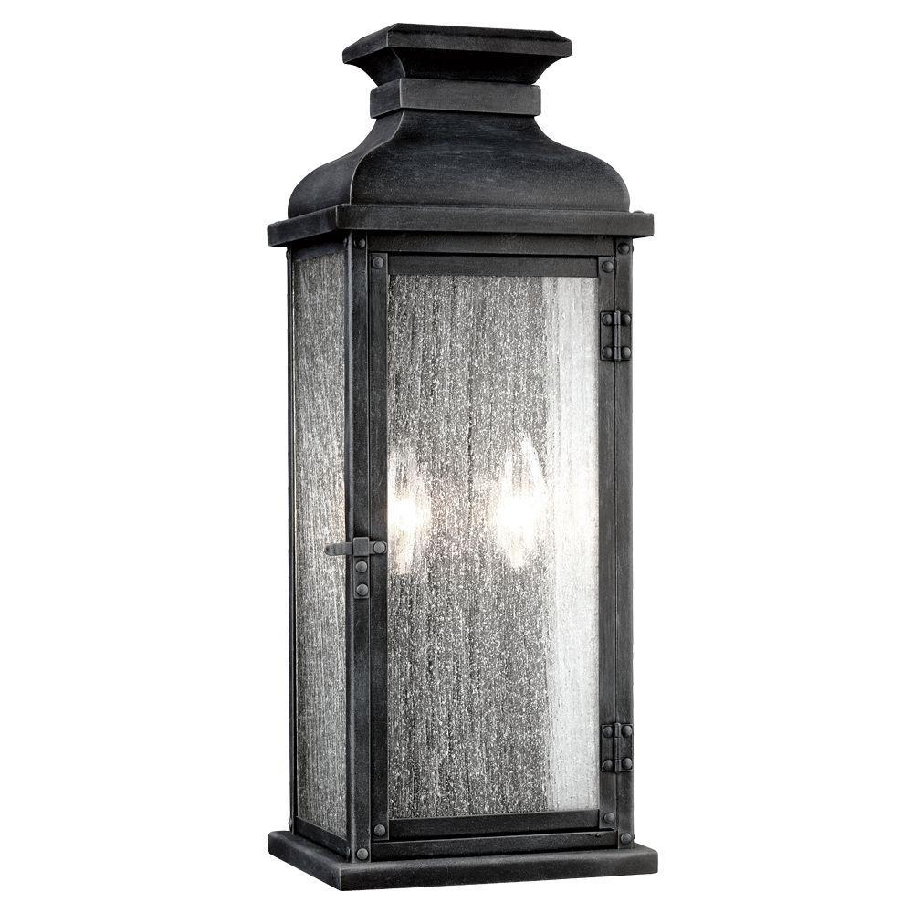 Pediment 2-Light Dark Weathered Zinc Outdoor Wall Fixture