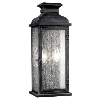 Pediment 7 in. W 2-Light Dark Weathered Zinc Outdoor 18.125 in. Wall Lantern Sconce with Clear Seeded Glass