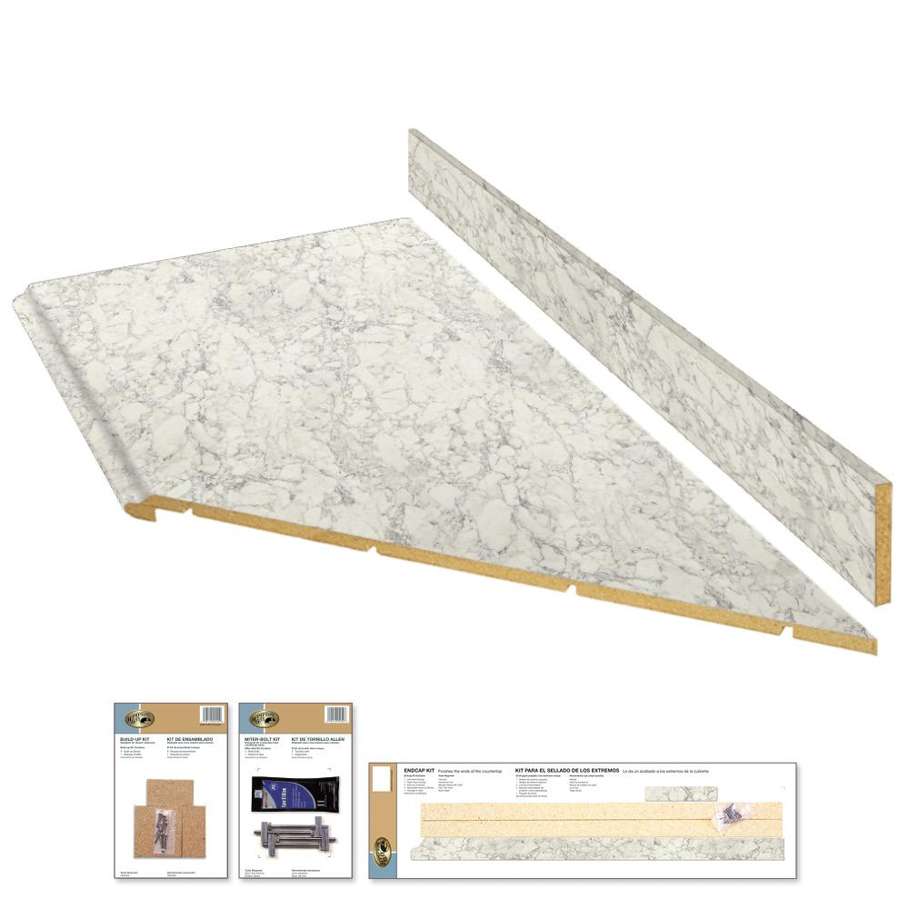 Hampton Bay 8 ft. Laminate Countertop Kit with Right Miter in Marmo Bianco Marble with Valencia Edge