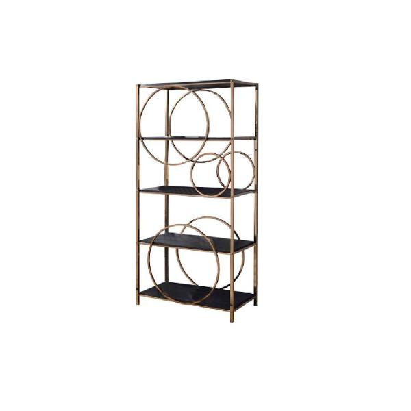 Modern 68 in. H Gold and Dark Gray Wooden Etagere Bookcase with 4-Shelves and Circular Pattern