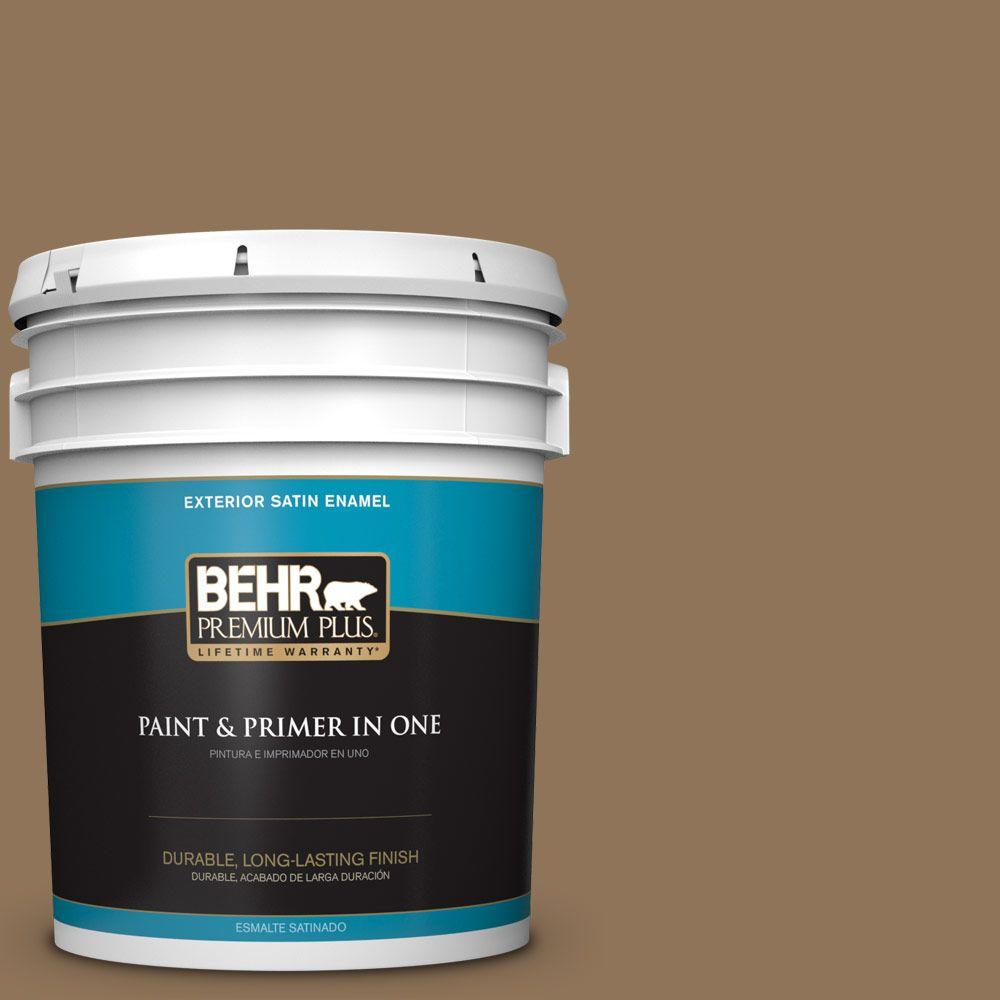 5-gal. #N270-7 Library Oak Satin Enamel Exterior Paint