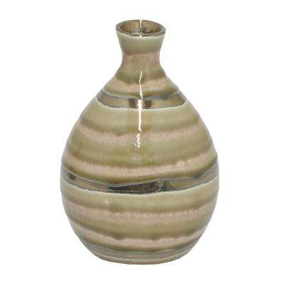 Gold and Ivory Ceramic Decorative Vase with Glossy Finish