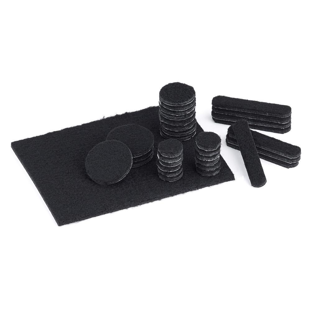 Assorted Black Felt Pads (33-Pack)