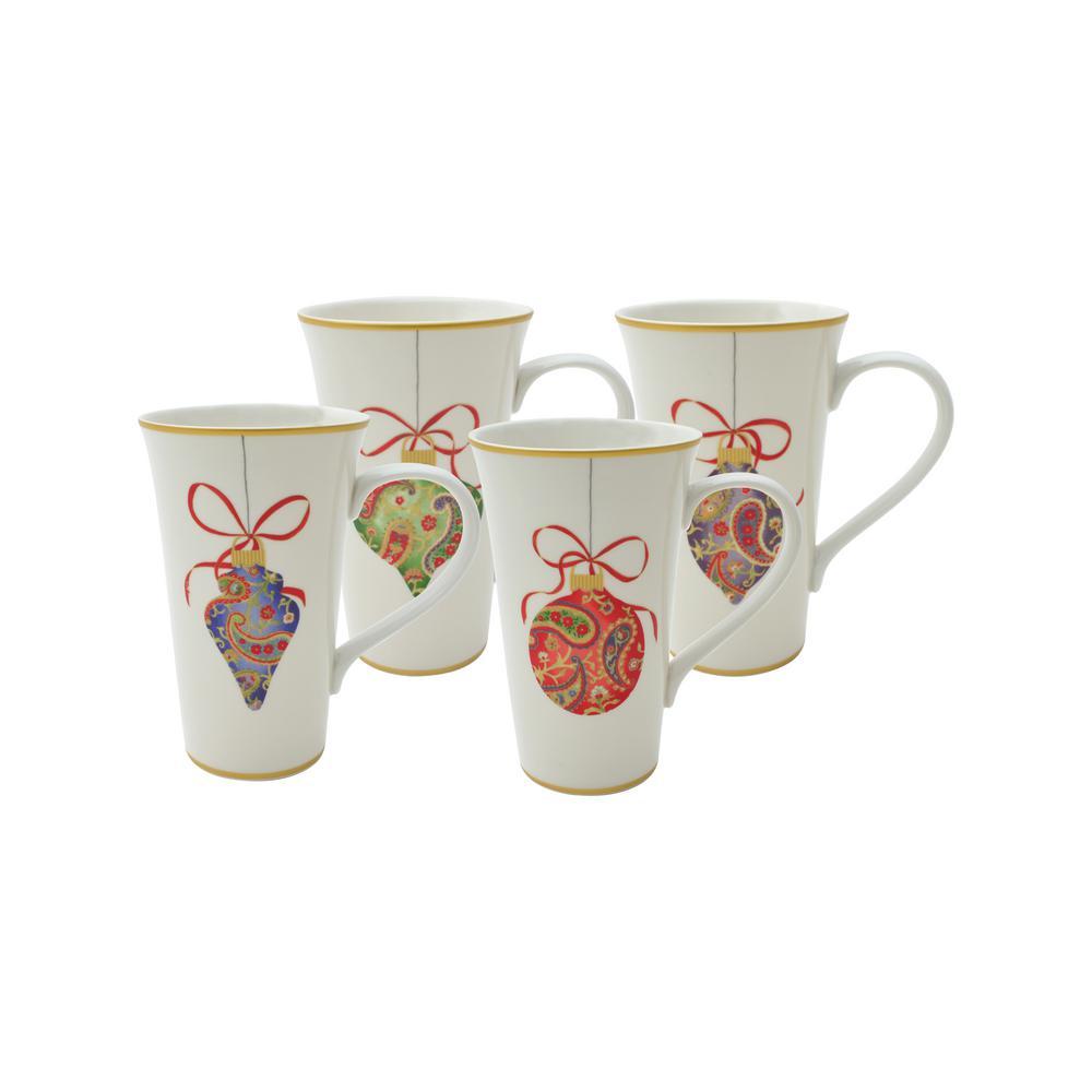 Deals on 222 Fifth Paisley Ornaments Latte Mugs (Set of 4)