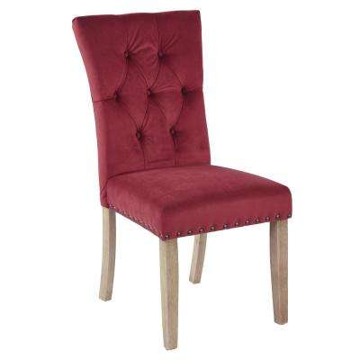 Preston Berry Velvet Dining Chair in Fabric with Antique Bronze Nailheads and Brushed Legs