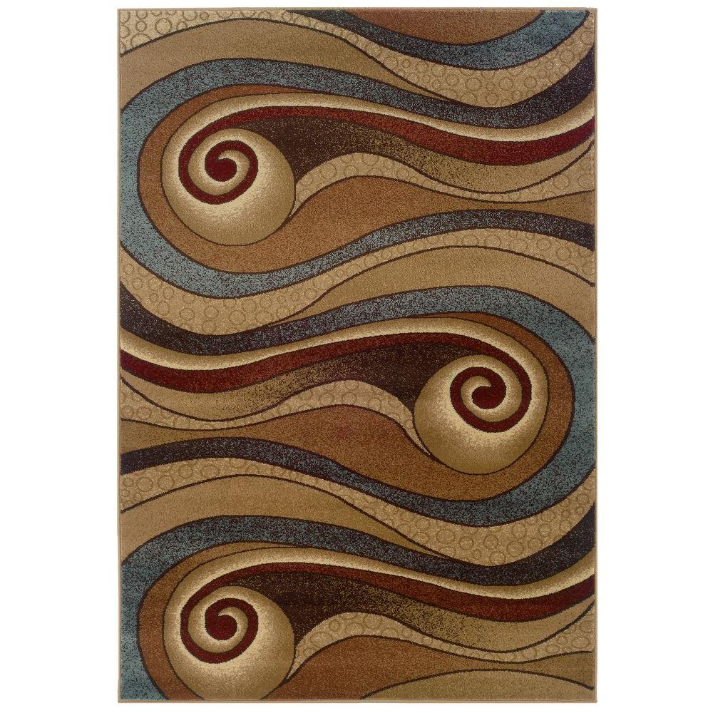 LR Resources Wave-like Design In Gold and Brown 5 ft. 3 in. x 7 ft. 9 in. Plush Indoor Area Rug