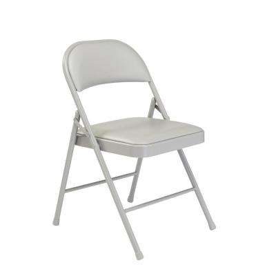 Gray Vinyl Padded Seat Stackable Folding Chair (Set of 4)