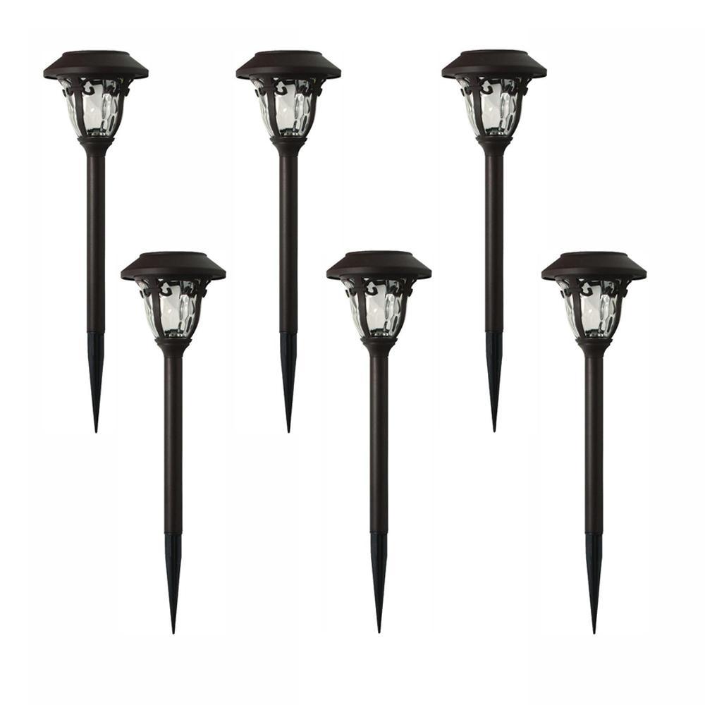 Solar Bronze Outdoor Integrated LED 3000K 10-Lumens Metal and Glass Landscape Pathway Light Set (6-Pack)