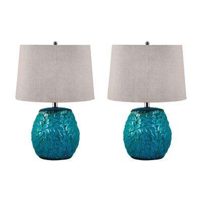 25 in. Aqua Leaf Terra Cotta Table Lamp Set