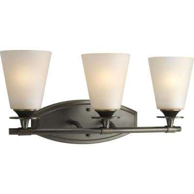 Cantata Collection 3-Light Forged Bronze Vanity Light with Seeded Topaz Glass Shades