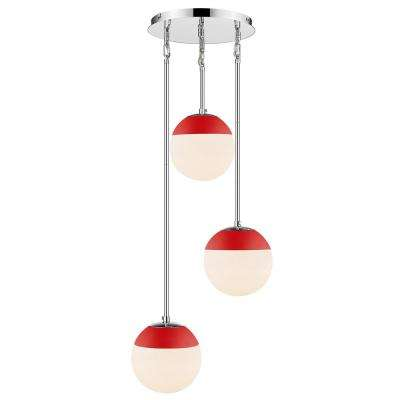 Dixon 3-Light Pendant in Chrome with Opal Glass and Red Cap