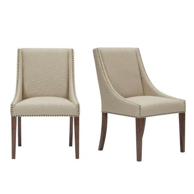 Blakewood Haze Oak Finish Upholstered Dining Chair with Fawn Brown (Set of 2) (23.23 in. W x 37.40 in. H)