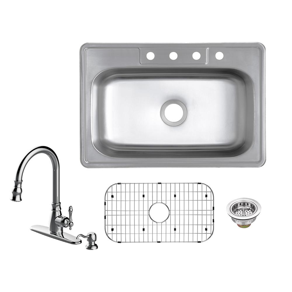 Glacier Bay All-in-One Drop-In 20-Gauge Stainless Steel 33 in. 4-Hole Single Bowl Kitchen Sink with Pull-Out Kitchen Faucet