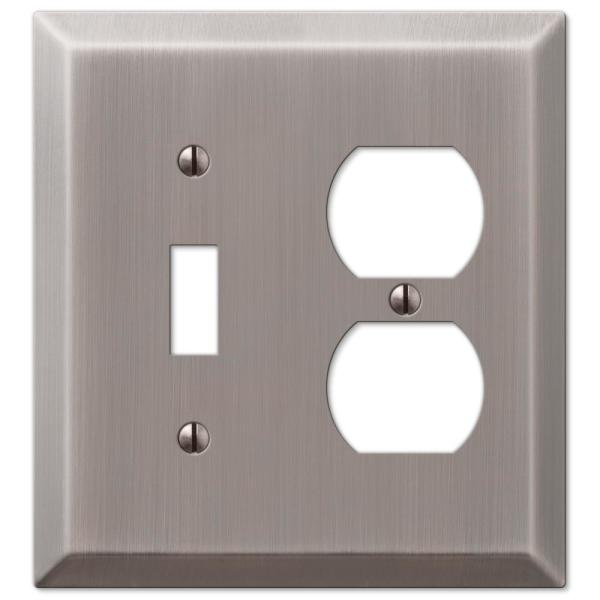 Metallic 2 Gang 1-Toggle and 1-Duplex Steel Wall Plate - Antique Nickel