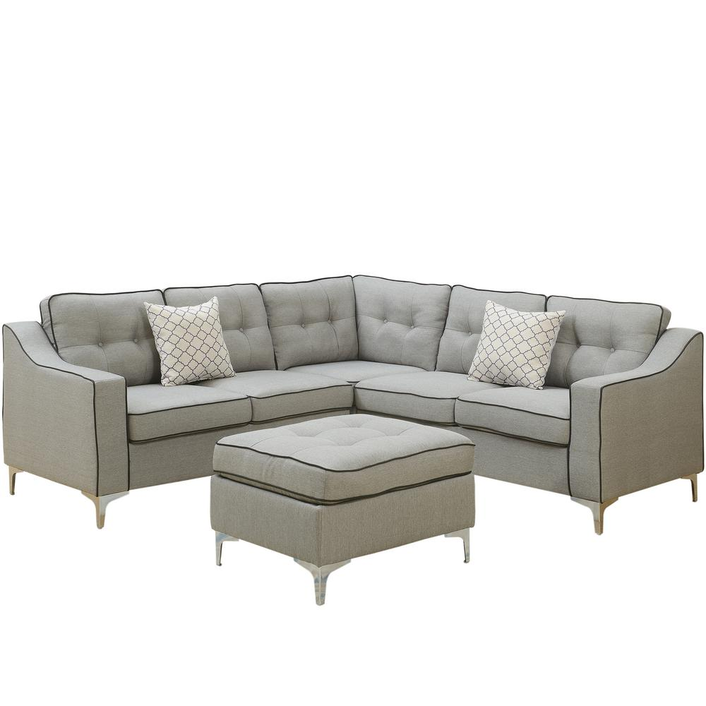 Venetian Worldwide Palermo 4 Piece Light Gray Sectional Sofa With Ottoman