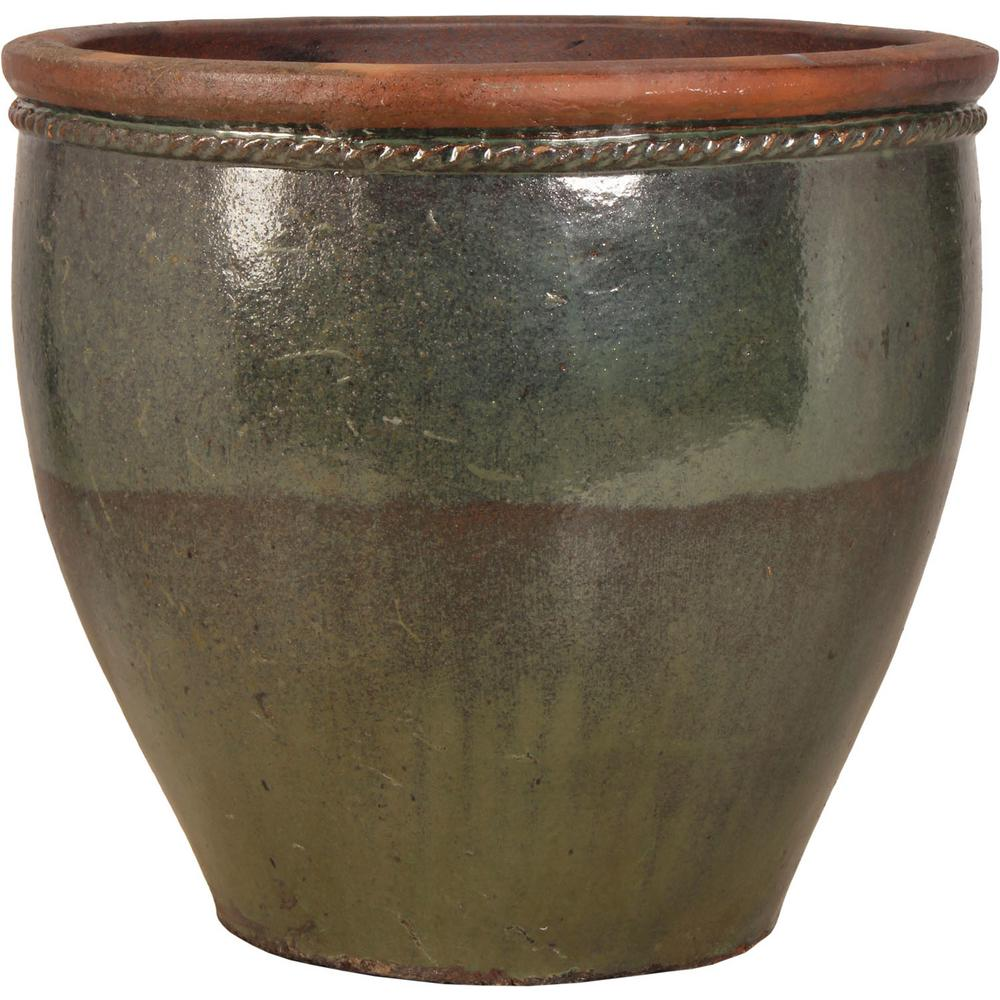 21 In Sea Green Ceramic Escala Planter Agr 64b Sgrp The Home Depot