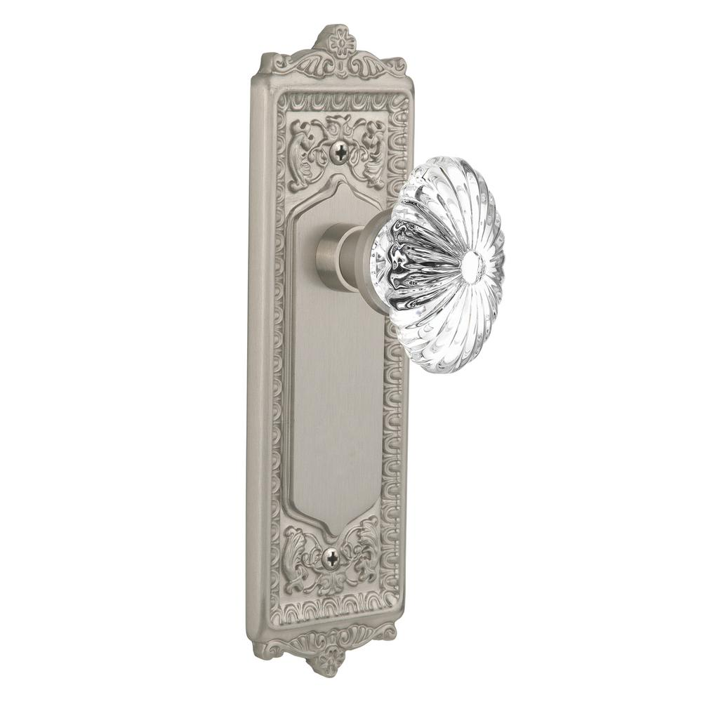 Egg & Dart Plate 2-3/4 in. Backset Satin Nickel Passage Hall/Closet
