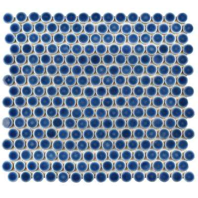 Hudson Penny Round Denim Blue 12 in. x 12-5/8 in. x 5 mm Porcelain Mosaic Tile