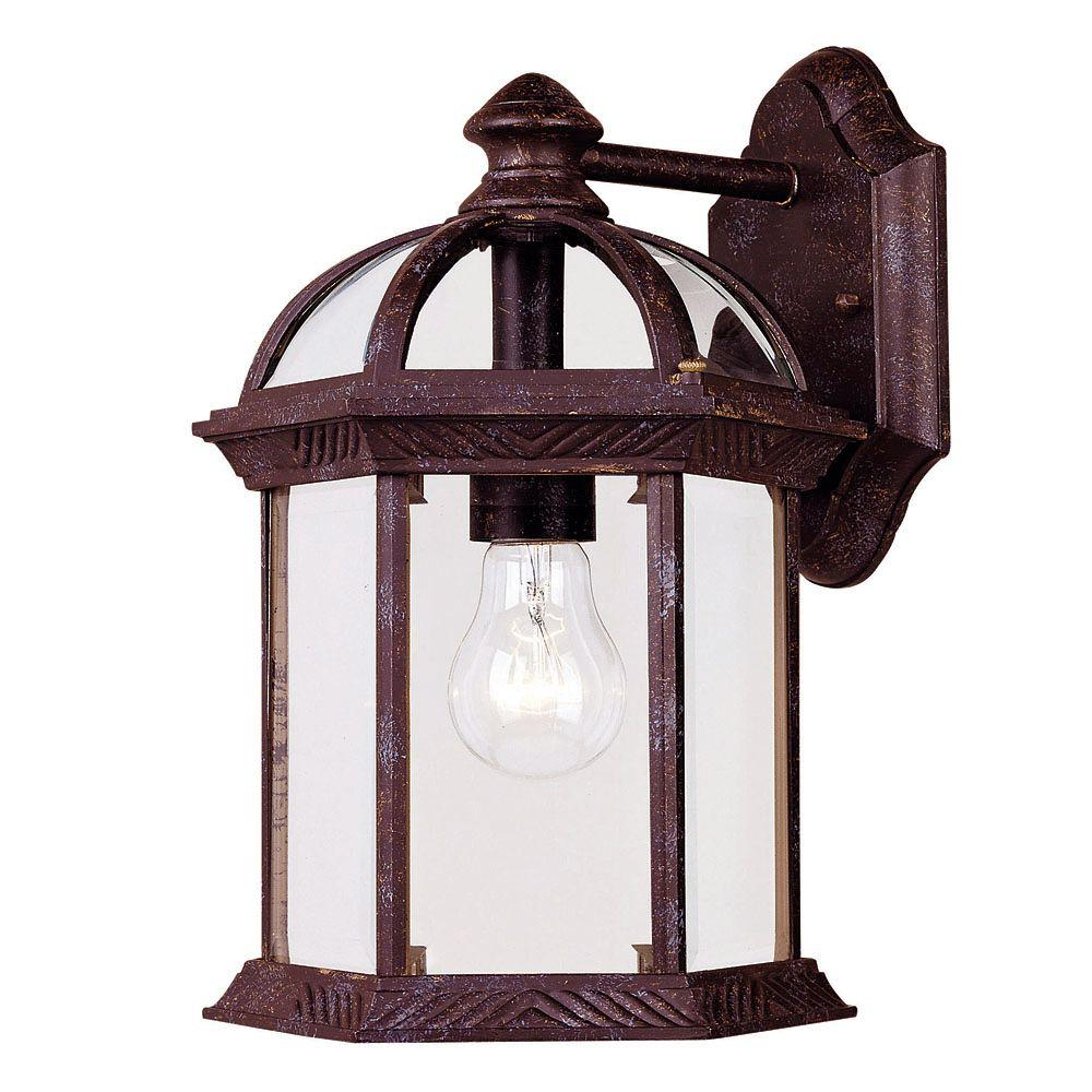 1-Light Wall Mount Lantern Rustic Bronze Finish Clear Beveled Glass