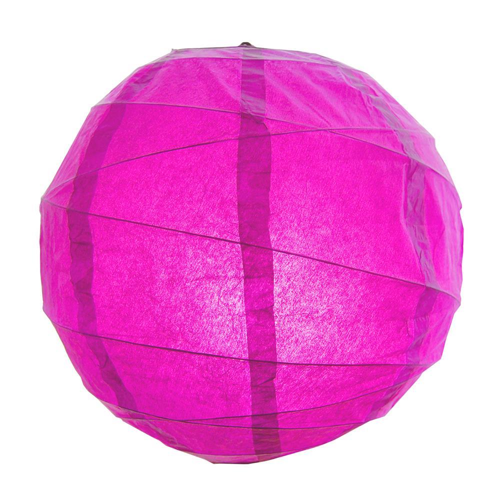 CrissCross 12 in. x 12 in. Fuchsia Round Paper Lantern (5-Pack)