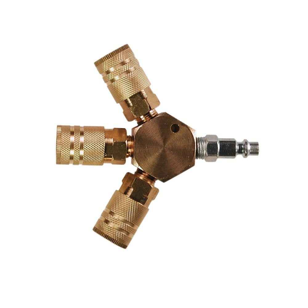 3-Way Hex Style Air Manifold with 1/4 in. 6-Ball Brass Couplers