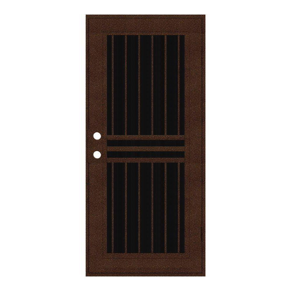 Unique Home Designs 36 in. x 80 in. Plain Bar Copperclad Right-Hand Surface Mount Aluminum Security Door with Charcoal Insect Screen