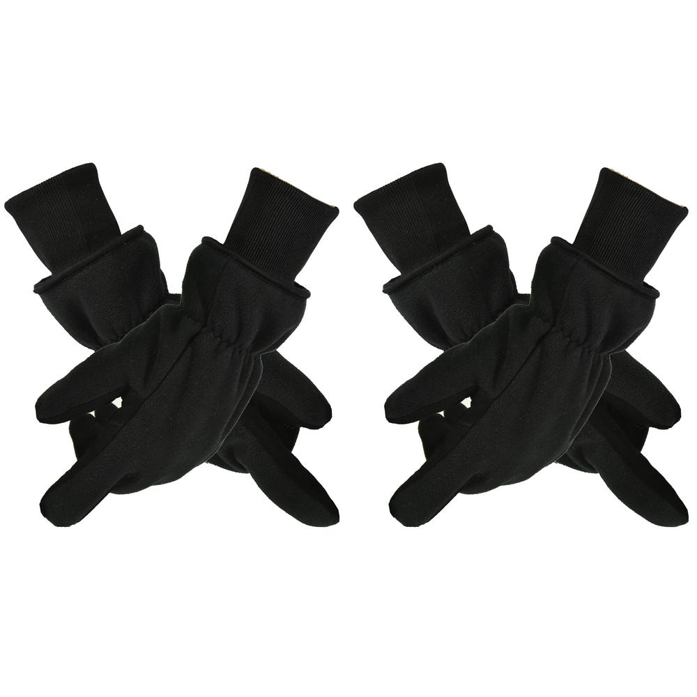 Medium, Black/Grey Winter Gloves with Deerskin Palm and Polar Fleece Back,