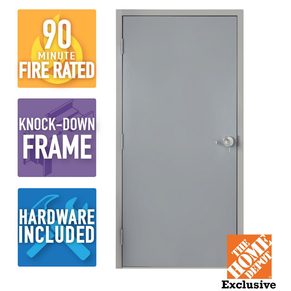 Armor Door 36 in. x 80 in. Fire-Rated Gray Right-Hand Flush Steel Commercial Door with Knock Down Frame and Hardware