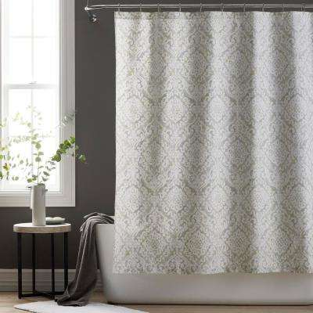 Trieste Multicolored Geometric 72 in. Sateen Shower Curtain