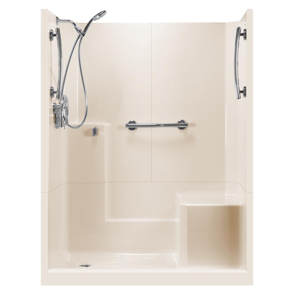 Ella 60 In X 33 In X 77 In Freedom 3 Piece Low Threshold Shower Stall In Bone Rhs Molded Seat