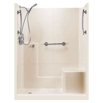 60 in. x 33 in. x 77 in. Freedom 3-Piece Low Threshold Shower Stall in Bone RHS Molded Seat Accessories Left Drain