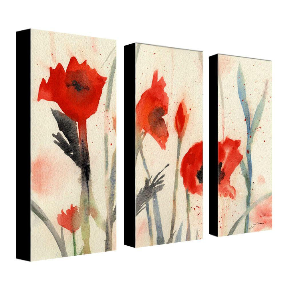 10 in. x 24 in. Poppies 3-Piece Canvas Art Set