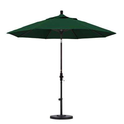 9 ft. Bronze Aluminum Pole Market Aluminum Ribs Collar Tilt Crank Lift Patio Umbrella in Forest Green Sunbrella