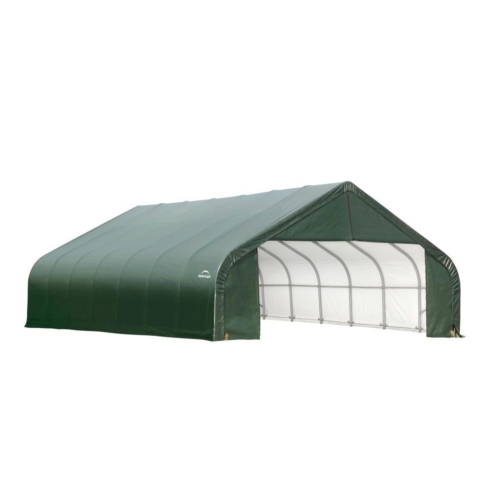 ShelterLogic 26 ft. x 40 ft. x 16 ft. Green Cover Peak Style Shelter-DISCONTINUED
