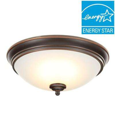 11 in. 60-Watt Equivalent Oil-Rubbed Bronze Integrated LED Flushmount with Frosted White Glass Shade