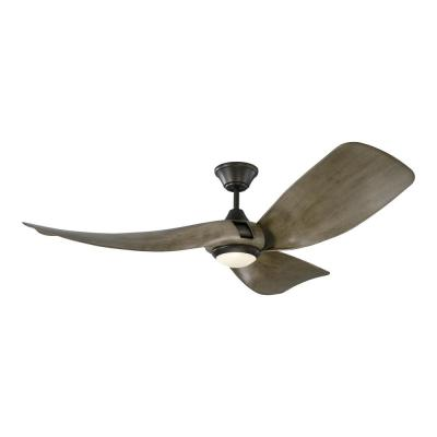 Melody 56 in. Integrated LED Indoor/Outdoor Aged Pewter Ceiling Fan with Light Grey Weathered Oak Blades, Remote Control