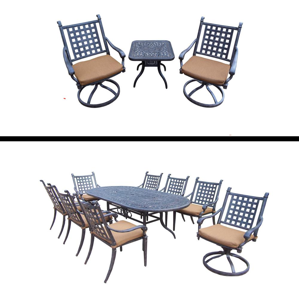 Amazing Belmont 12 Piece Aluminum Outdoor Dining Set With Sunbrella Brown Cushions
