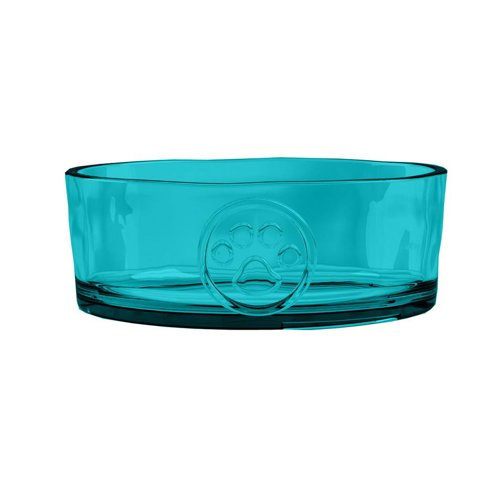 Embossed Paw Print Small Pet Bowl in Teal