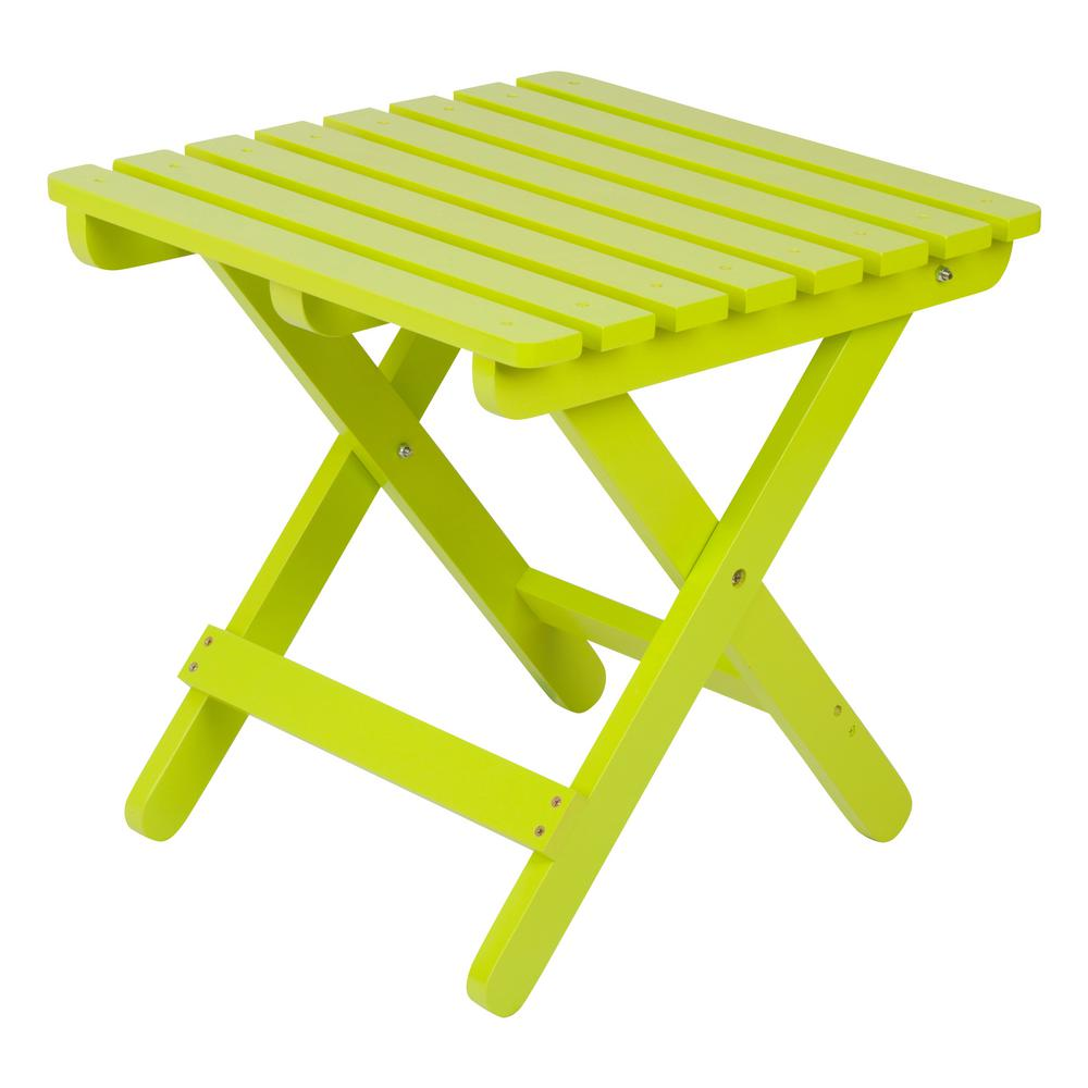 Shine Company Lime Green Adirondack Square Folding Outdoor Side Table