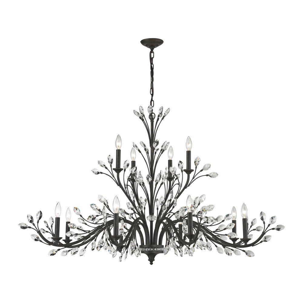 Crystal Branches 12-Light Burnt Bronze Chandelier
